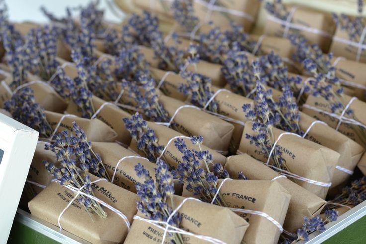 Wedding favour: Delicate sprigs of lavender decorate lavender soap.
