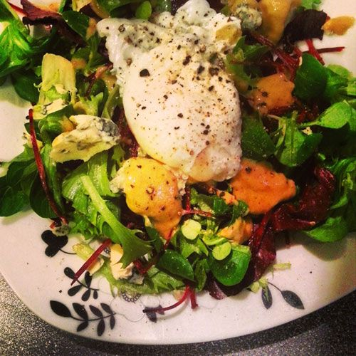 Lamb's lettuce salad with mustard sauce and a poached egg, blue stilton goes beh beh |Nomr