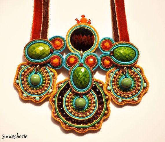 Statement soutache necklace by Soutacherie on Etsy, $70.00