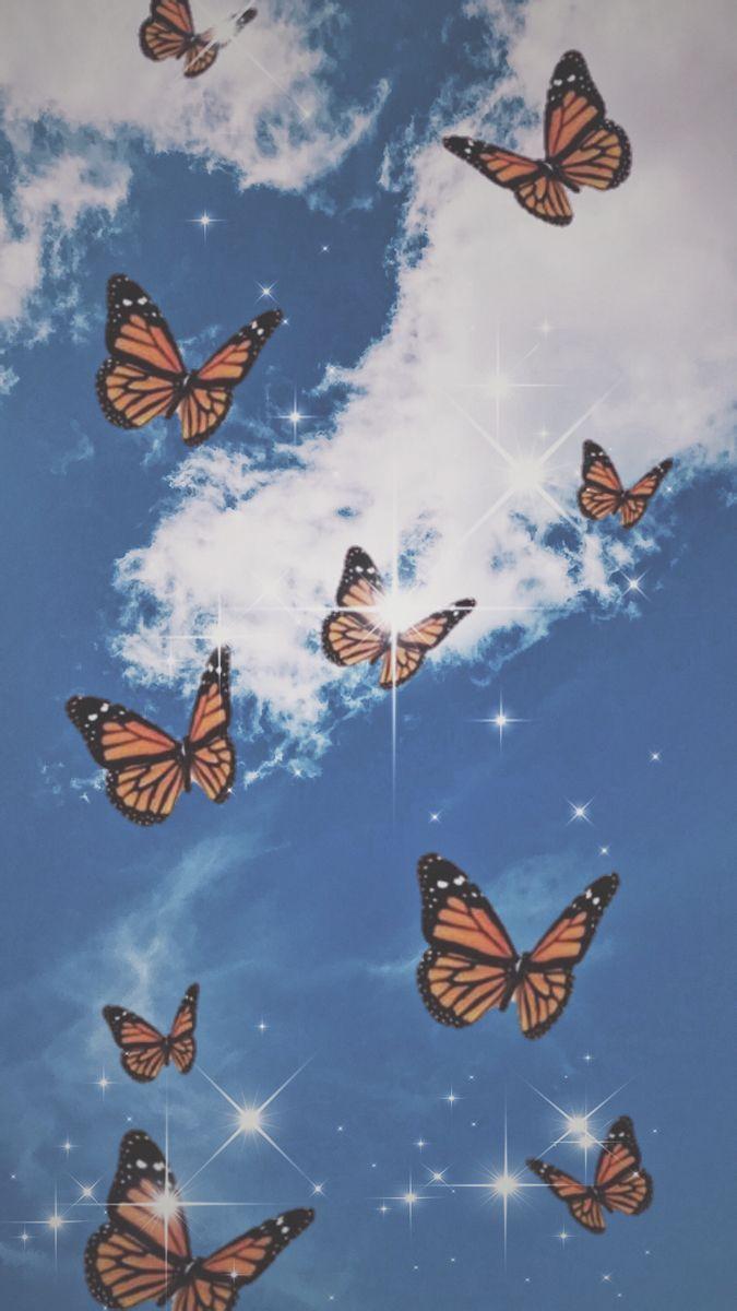 Butterfly Wallpaper I Used Pics Art And Vsco Butterfly Wallpaper Iphone Iphone Wallpaper Vintage Aesthetic Pastel Wallpaper