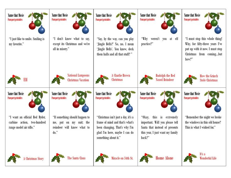 Name that Christmas Movie - Christmas Movie Quote Game - Printable Game - Christmas Family Game -  Classroom Party Game  -  Instant Download by PamsPartyPrintables on Etsy