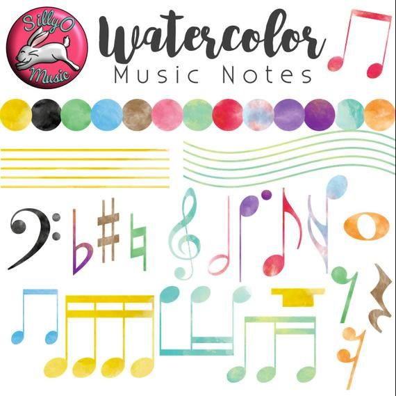 Watercolor Music Note Clipart Accurate Music Notation Clip Etsy In 2021 Clip Art Music Notes Music Border