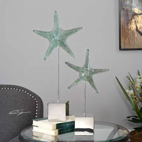 interiorclue-20091-uttermost-accessories  Marine Green Starfish Replica Sculpture Set on Tarnished Silver StandRealisticStarfish ReplicasFeature A Pale, Marine Green Finish And Sit Atop TarnishedSilver Stands. Sizes: Sm-10x19x4, Lg-11x24x4