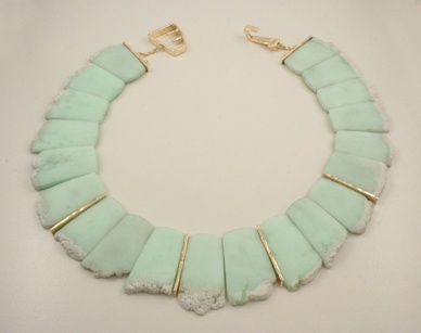 J. Cotter - Necklace  14 Karat Yellow Gold  with Chrysoprase
