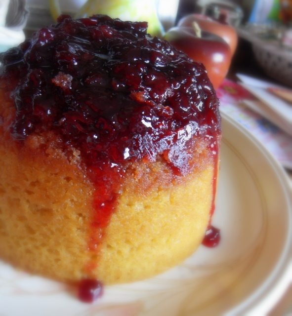 Steamed Cherry Bakewell Pudding