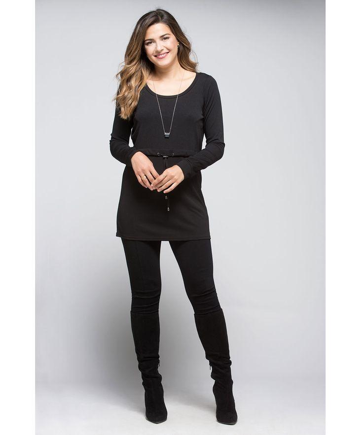 Drawstring Waist Ribbed Tunic in Black #rickis #fall2015