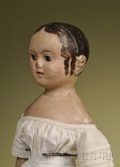 antiques price guide, antiques priceguide, dolls, Rhode Island, Izannah Walker painted cloth Child, Rhode Island, circa 1860, oil-painted stockinette head and shoulders, hand-painted features including brown eyes, brown painted hair with center part and two spiral tendrils in front of each applied ear, pink cheek blush and painted closed mouth, muslin body with oil painted arms and legs with brown painted boots.