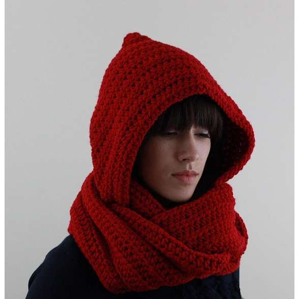 Red Hooded Scarf Knit Hooded Scarf by zukas on Etsy Need ...