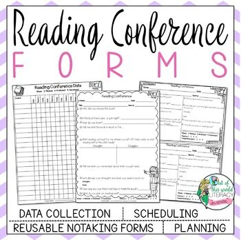 This resource includes printable reading conference forms for:1. Reading conference note taking and goal setting2. Scheduling reading conferences3. Planning teaching points in a reading conference4. Record Keeping