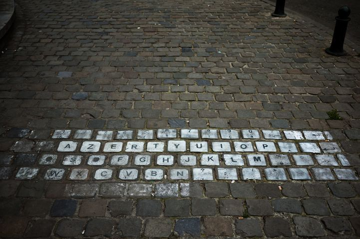 Must be in Europe somewhere. I was so lost trying to type on their keyboards haha.    Azetrstreet: Inspiration, Brussels Belgium, Keys, Street Art, Sidewalks Art, Photo, Street Keyboard, Design, Streetart