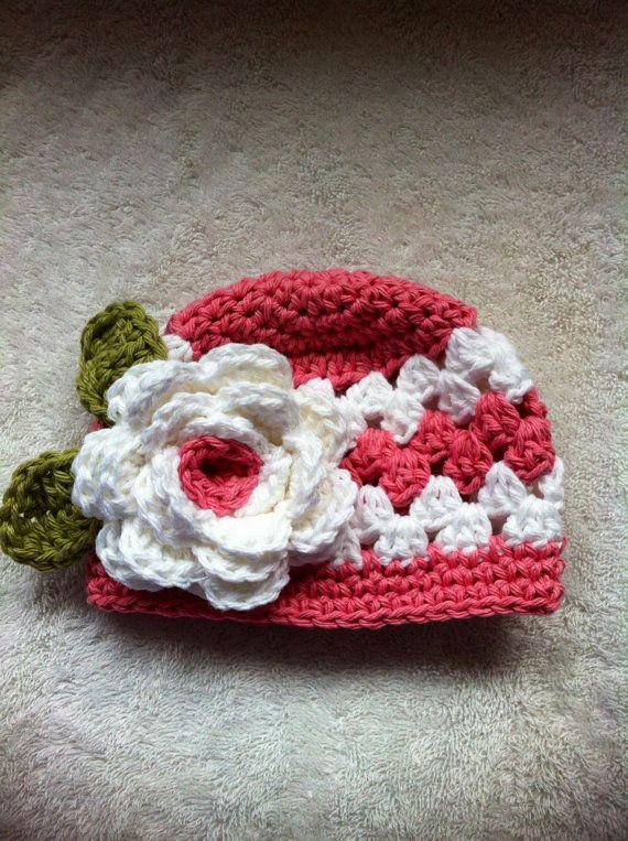 Pink newborn crochet hat with flower photography prop