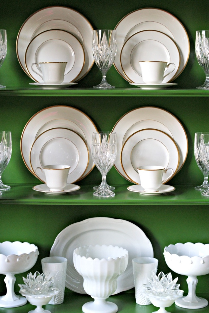 Dimples and Tangles: china cabinet styling, white Royal Doulton china, milk glass