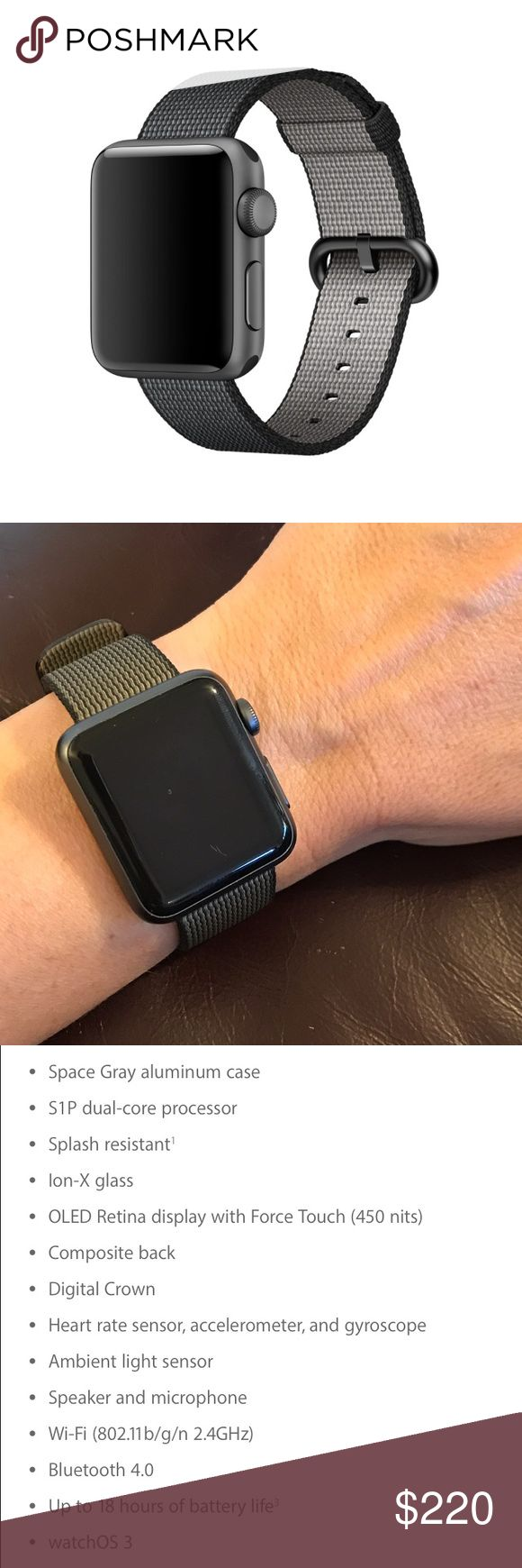 NIB Apple Sport Watch Series 1 Space Gray NIB Apple Sport Watch Series 1 Space Gray. Brand new with woven band. Just wanting to get the series 2 watch. Accessories Watches