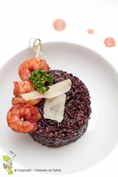 Risotto de riz noir et crevettes à l'orange sanguine