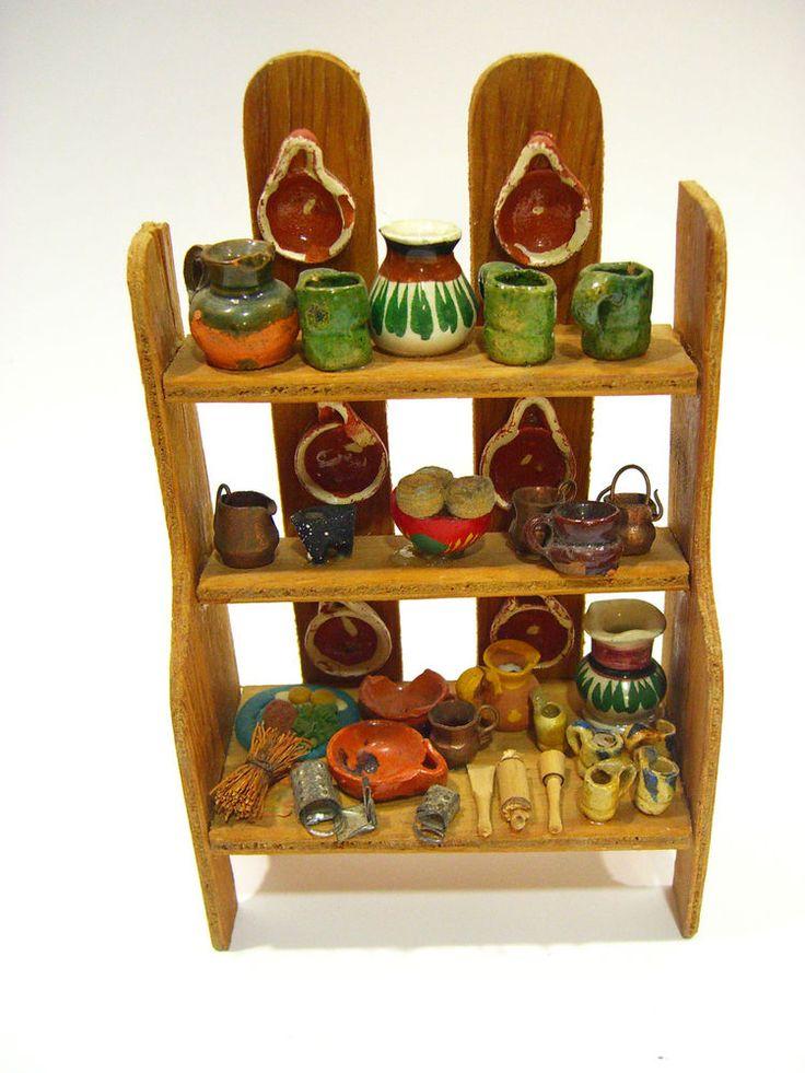 Vtg Mexican Clay Folk Art Miniature Tea Pot Bowl Pottery DOLL HOUSE DISPLAY #1