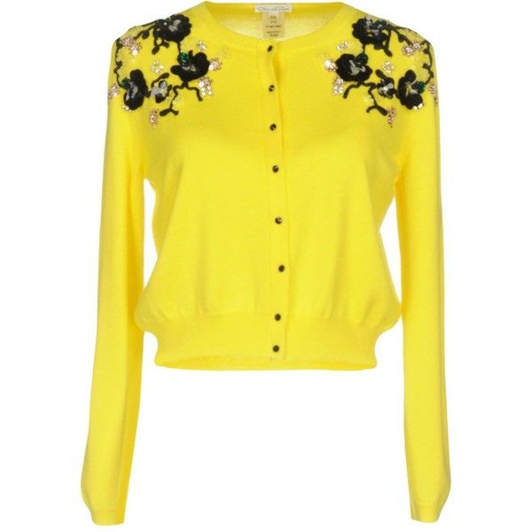 Oscar De La Renta Cardigan ($1,600) ❤ liked on Polyvore featuring tops, cardigans, yellow, oscar de la renta, oscar de la renta top, oscar de la renta cardigan, yellow long sleeve top and sequined tops