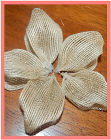 TUTORIAL: Here's some ribbon... (all Walmart brand) Have you seen this burlap looking ribbon? I know right?  Cut out 5 strips (I can count, ...
