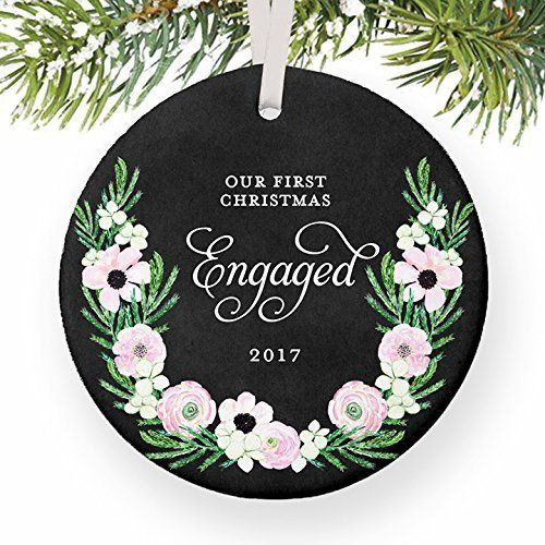 our first christmas engaged 1st xmas soon to be mr mrs newlyweds gifts wedding bride groom husband wife round christmas ornament keepsake xmas
