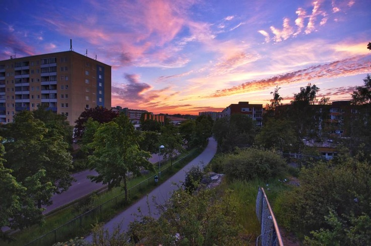 Sunset in Husby — at Husby, Stockholm, Sweden