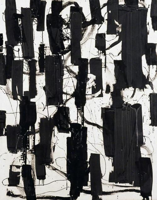 yama-bato:    Black and White: April 1956  Patrick Heron  In my end is my beginning (T. S. Eliot, The Four Quartets)  http://www.chi.ac.uk/ottergallery/PictureMonthPatrickHeron.cfm  via workman's tumblr.