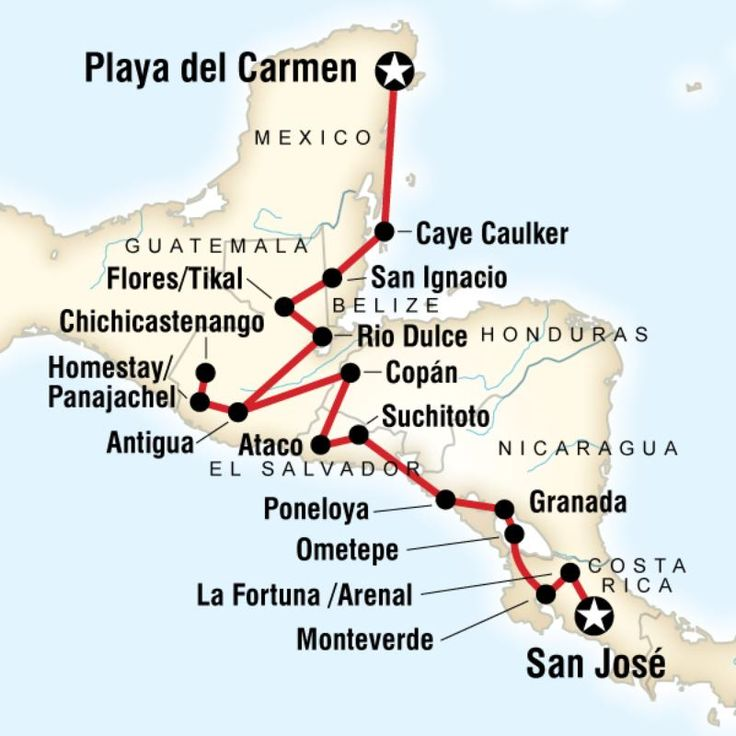 Map of the route for Best of Central America