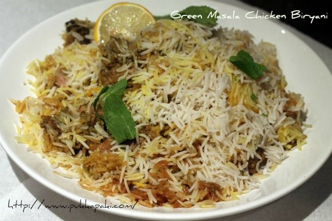 Green Masala Chicken* Biryani - Featured on Madhur Jaffrey's Curry Nation tv show