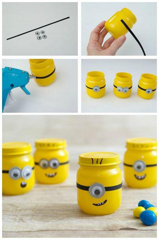 make baby food jar minions with kids