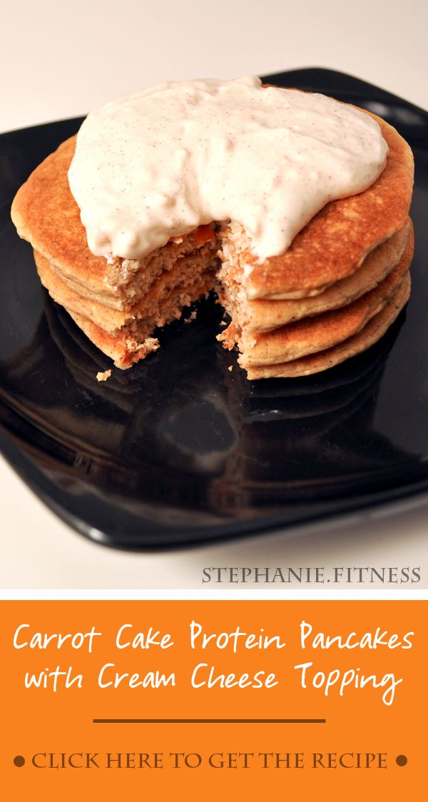 Carrot Cake Protein Pancakes with Cream Cheese Topping | Stephanie ...