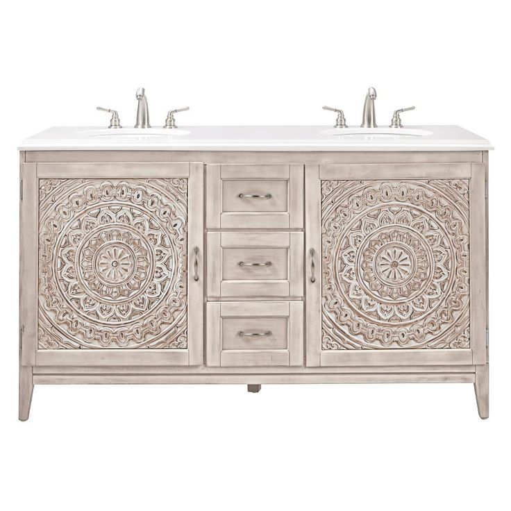 Home Decorators Collection Chennai 61 in. W Double Vanity in White Wash with Engineered Stone Vanity Top in Crystal White with White Basins