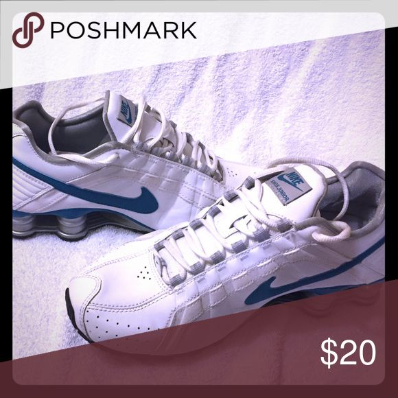 Nike shox junior White and turquoise leather Nike sneakers with silver shox bottom Nike Shoes Athletic Shoes