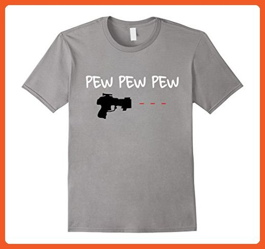 Mens Pew Pew Pew Ray Laser Gun Science Fiction TShirt Large Slate - Math science and geek shirts (*Partner-Link)