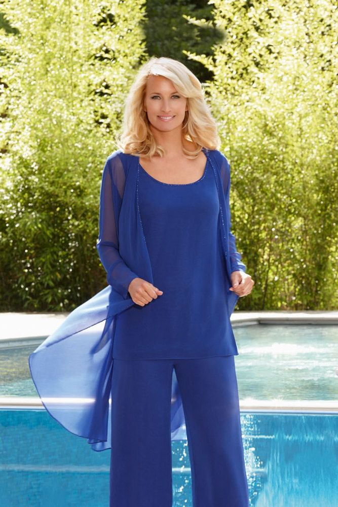 Condici 11253 In a trio of colours – Glace Plum, Royal Blue and Navy this design is a pretty and floaty georgette 3 piece trouser suit. The outfit comprises of a straight leg trouser, a cami top and a waterfall Read More...