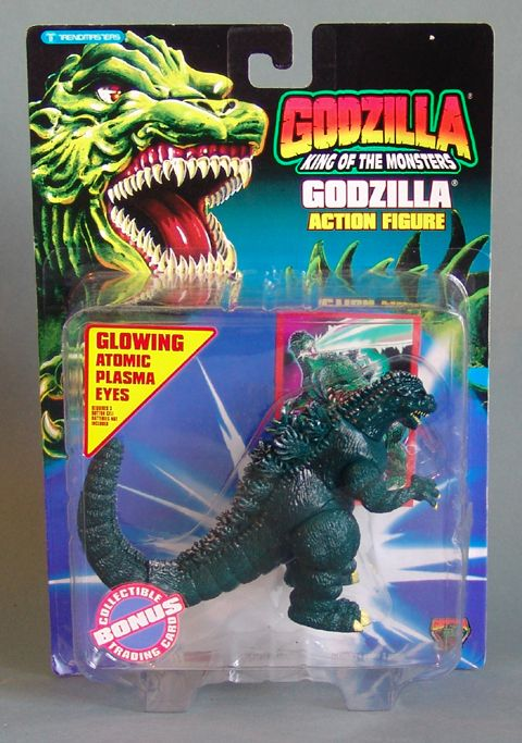 Godzilla Action Figure. This 5 inch tall action figure was made in 1994 by Trendmasters. Minor shelf wear to card.