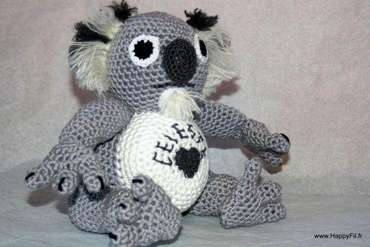 Doudou au crochet koala en coton : Jeux, peluches, doudous par happyfil