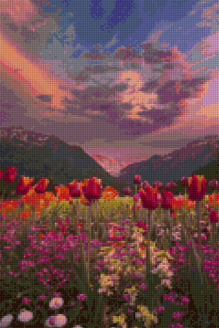 Interlaken Switzerland Sunset landscape Cross Stitch pattern PDF - Instant Download! by PenumbraCharts on Etsy