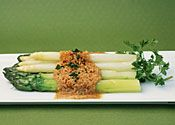 ASPARAGUS WITH BROWN BUTTERED BREADCRUMBS  |  Austrian recipe from Wolfgang Puck