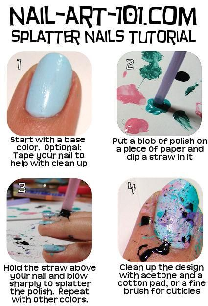 splatter nail art tutorial #DIY a tip for this is to put aquaphor on your skin around your nails before you paint because it helps you get off the paint when your done drying !!! It helps alot