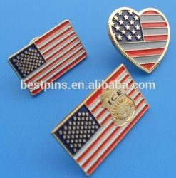 proud to be an american flag lapel pins, 3D gold eagle USA flag badges, heart shape american flag brooch