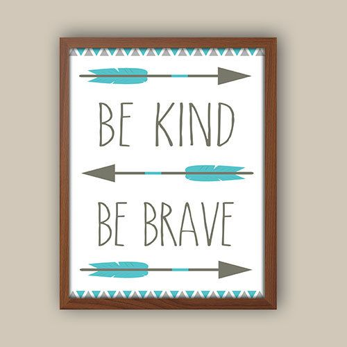 Baby Boy Nursery Art - Tribal Nursery Art - Tribal Pattern - Be Brave Quote - Teal Blue And Gray Nursery - Kids Tribal Arrows on Etsy, $10.00