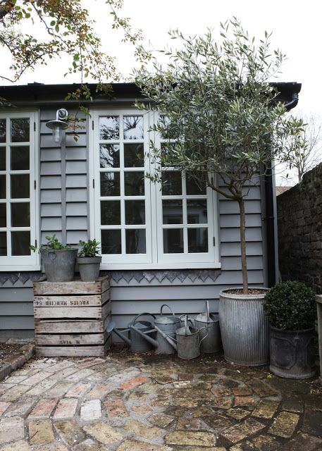 Gray Shed white trim potted plants DIY patio.  Nice, but adding to Dumb Garden Trix because of the pot.  How to repot the willow-leaved pear or willow that is in the pot if the mouth is smaller than the body?