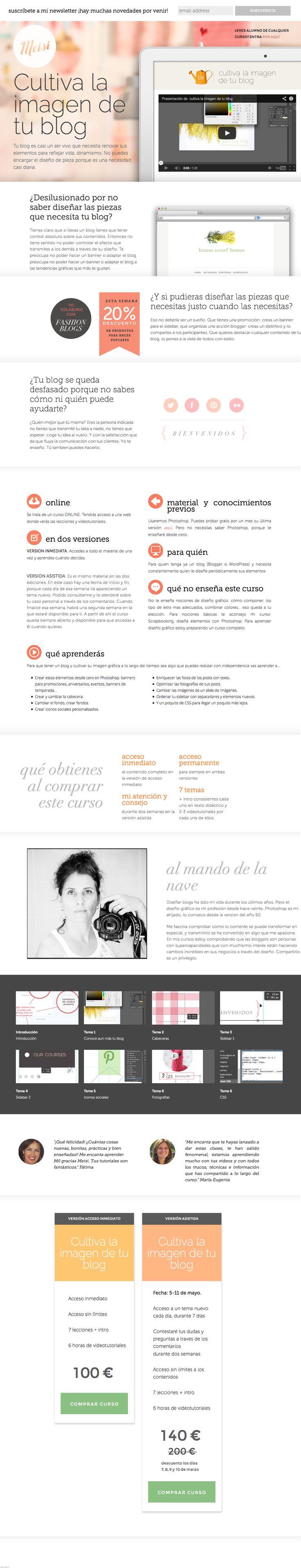 Nueva página para mi curso online de diseño Cultiva la imagen de tu blog #blog #diseño #cursosonline #videotutoriales #diseñografico #website #salespage