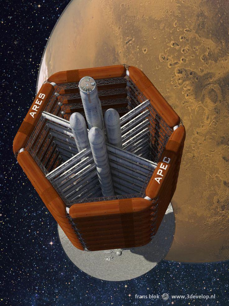 Recycling in de ruimtevaart, of in elk geval de sciencefiction: het ruimteschip Ares uit Red Mars van Kim Stanley Robinson, opgebouwd uit hergebruikte Amerikaanse en Russische space shuttle-tanks, nadert de Rode Planeet.