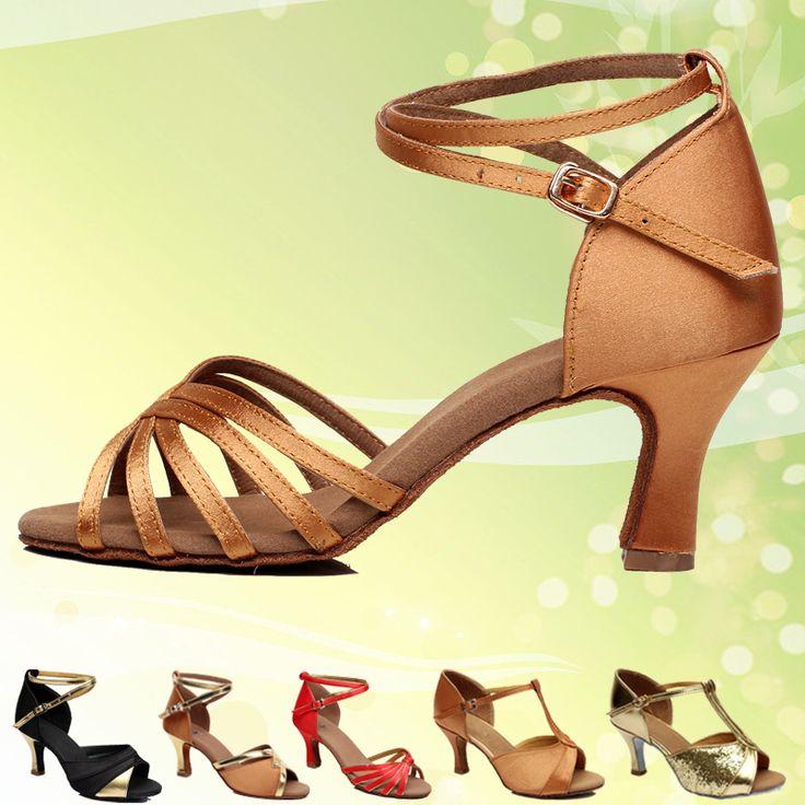 Girl's Women's Latin Dance Shoes Satin /Leatherette  Ballroom /Tango/ Salsa  Sandals 5.4cm /7cm Heel More Style (more color)