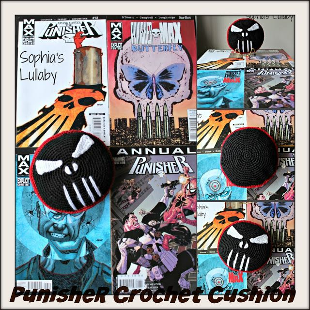 Punisher Crochet Cushion #sophiaslullaby #handmade #crochet #punisher #comics #marvel