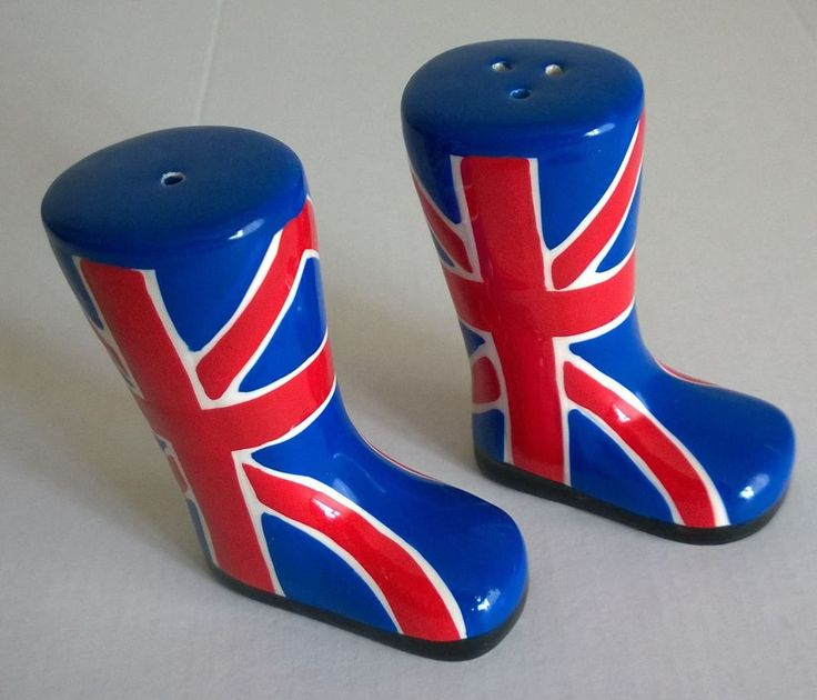 UNION JACK SALT & PEPPER POT SHAKERS CELLAR NOVELTY WELLINGTON BOOTS