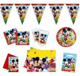 Geef een onvergetelijk Mickey Mouse feestje met dit geweldige 50 delige ;Disney feestpakket:  - 1 vlaggenlijn- ;6 ;uitnodigingen- 1 tafelkleed- 8 bekers- 8 bordjes- 20 servetten- ; uitdeelzakjes
