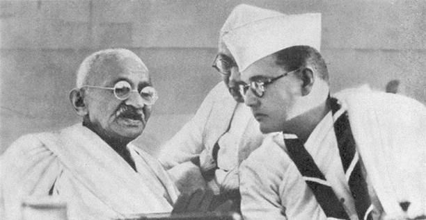 Mohandas K. Gandhi and Subhas Chandra Bose at the Indian National Congress annual meeting in Haripura in 1938