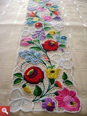Kalocsa lace (Richelieu) table runner with authentic Hungarian embroidery patterns - LACE-KAL-FUT-TR-223