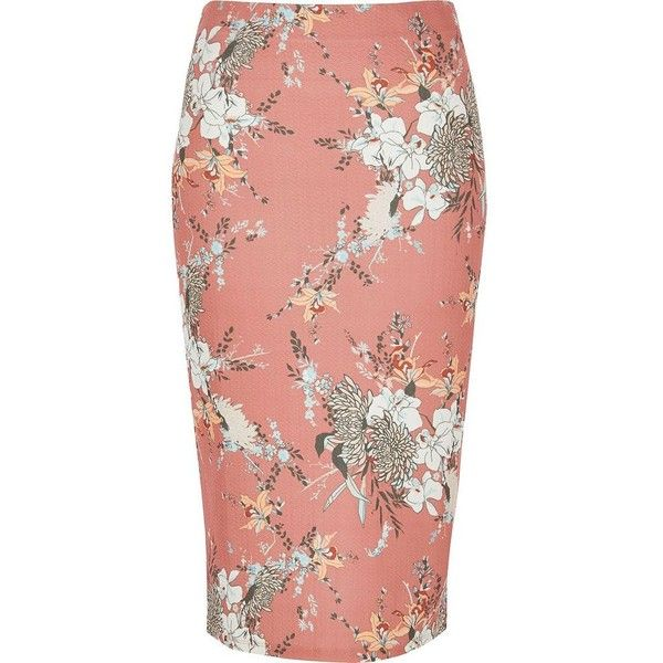 River Island Pink floral print pencil skirt (£20) ❤ liked on Polyvore featuring skirts, pink, midi skirts, women, floral pencil skirt, pink jersey, mid calf pencil skirt, pink pencil skirt and red jersey