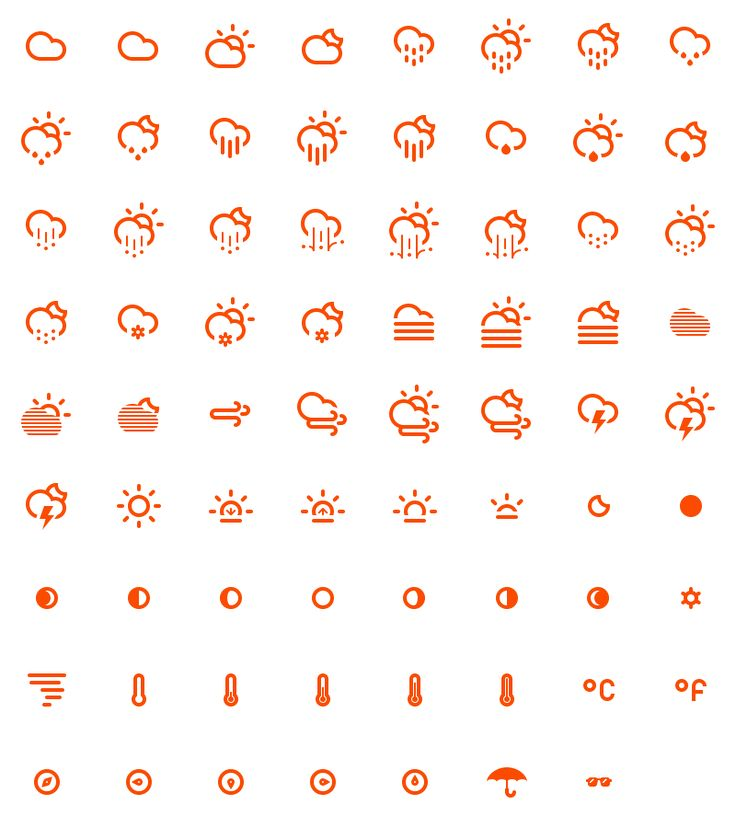 Climacons - 75 climatically categorised pictographs for web and user interface designers by Adam Whitcroft
